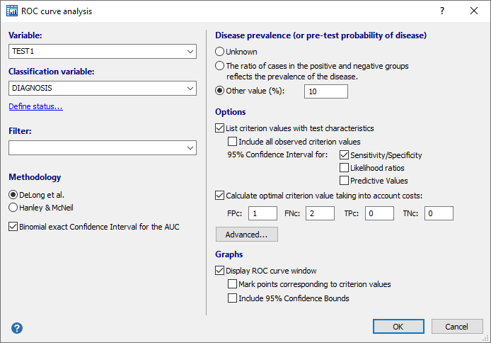 How to complete the ROC curve analysis dialog box
