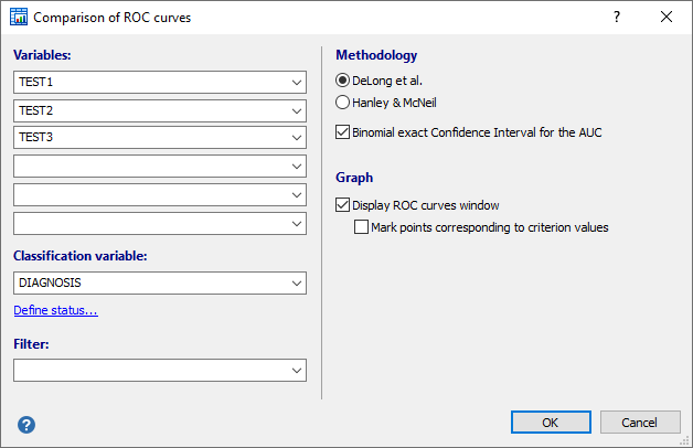 Dialog box for comparison of ROC curves