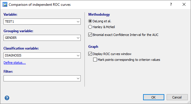 Dialog box for comparison of independent ROC curves
