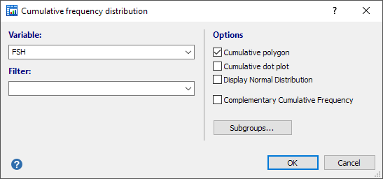 Cumulative frequency distribution dialog box