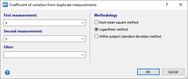 Coefficient of variation from duplicate measurements - dialog box