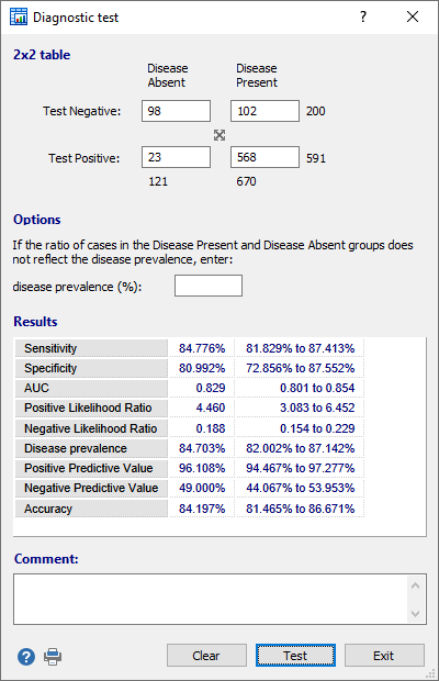 Dialog box for diagnostic test