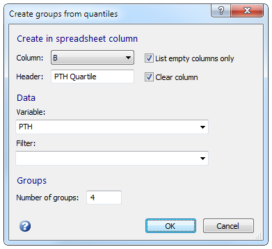 Create groups from quantiles