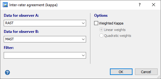 Inter-rater agreement (Kappa) dialog box
