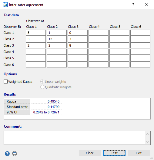 Inter-rater agreement (Kappa) test - dialog box