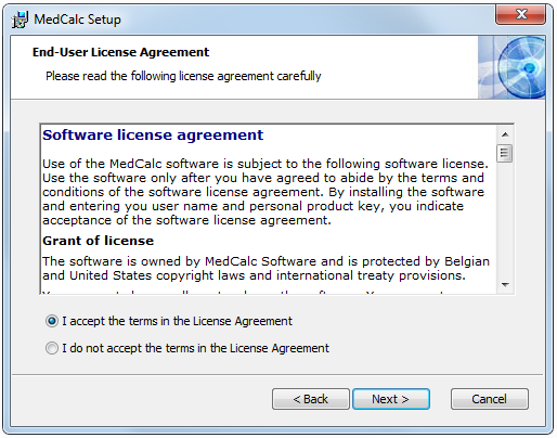 Medcalc Software License Agreement