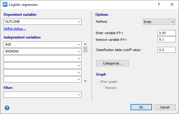 Logistic regression dialog box