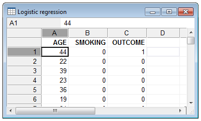 How to enter data for logistic regression