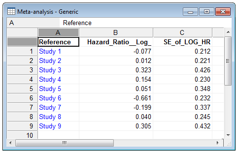 How to enter data for meta-analysis (generic inverse variance method)