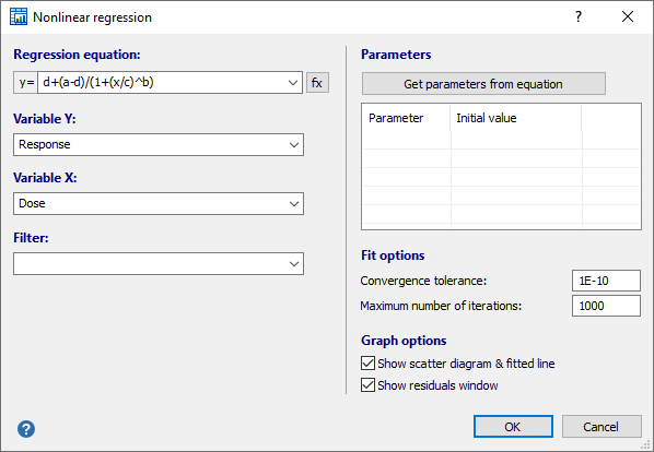 Nonlinear regression worked example - dialog box