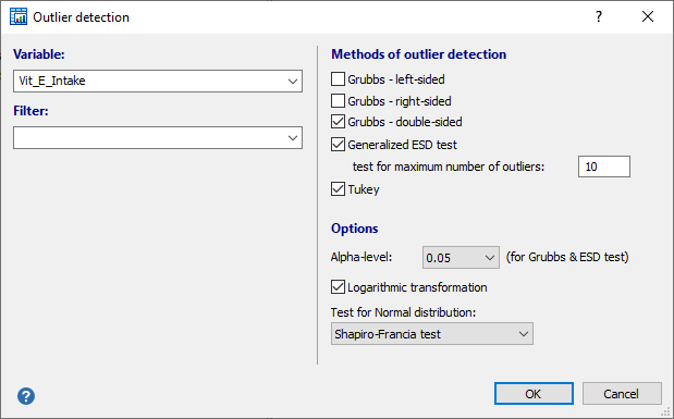 Dialog box for outlier detection