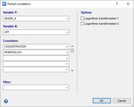 Dialog box for partial correlation