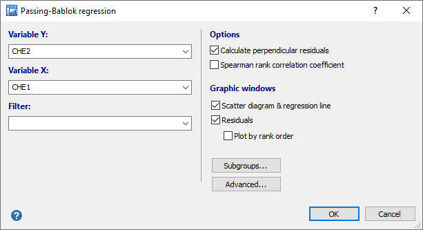 Dialog box for Passing-Bablok regression - method comparison