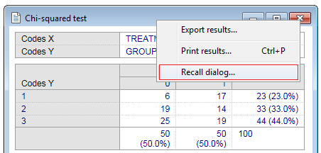 Recall dialog of a results or graph window