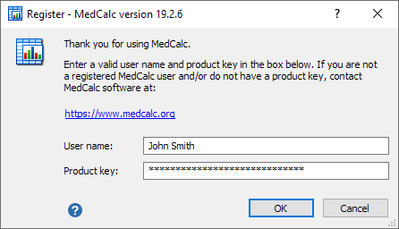 Software registration dialog box.