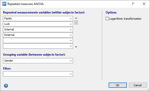 Repeated measure ANOVA: dialog box for a two-factor study