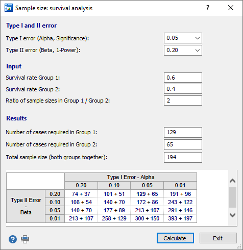 Sample size calculation: Survival analysis (logrank test)