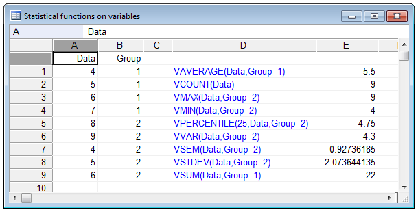 Statistical functions on variables