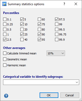 摘要统计的选项
