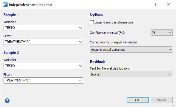 Independent samples t-test - dialog box