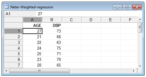 Weighted regression example data