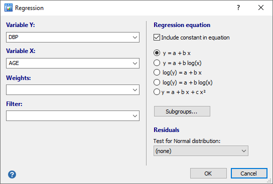 Dialog box for regression (weighed regression example)