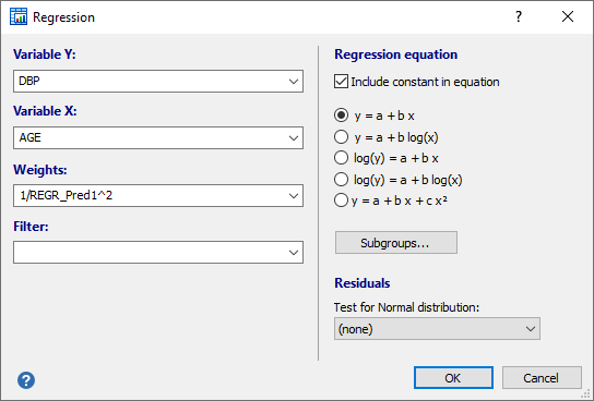 Dialog box regression (weighted regression example)