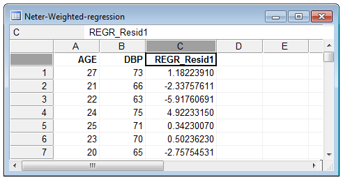 Save residuals (weighed regression example)